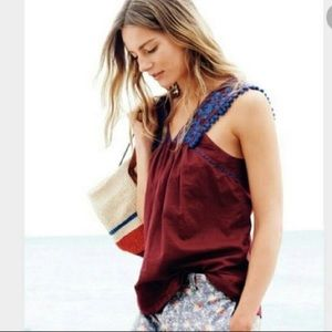 J. Crew Embroidered Red & Blue Sleeveless Blouse